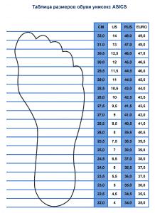 Таблица размеров унисекс обуви ASICS