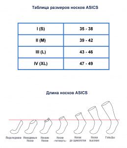 Таблица размеров носков ASICS