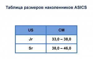 Таблица размеров наколенников ASICS (Jr-Sr)