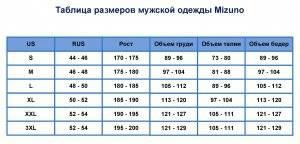 Таблица размеров мужской одежды Mizuno