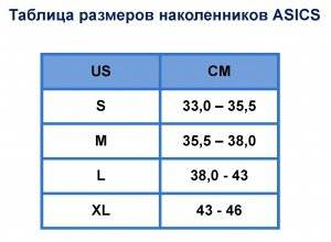 Таблица размеров наколенников ASICS (S-XL)