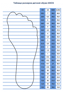 Таблица размеров детской обуви ASICS